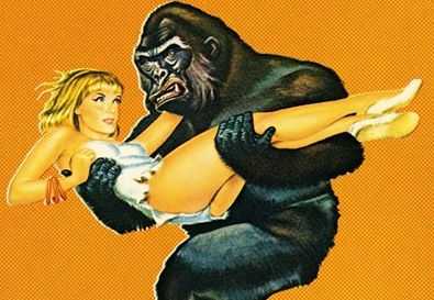 gorilla-and-a-blonde-woman